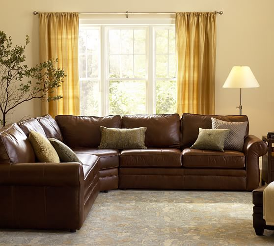 pearce leather 3 piece l shape sectional with wedge pottery barn