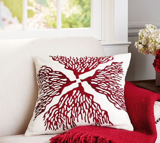Embroidered Throw Pillows Pottery Barn : Reef Coral Embroidered Pillow Covers Pottery Barn