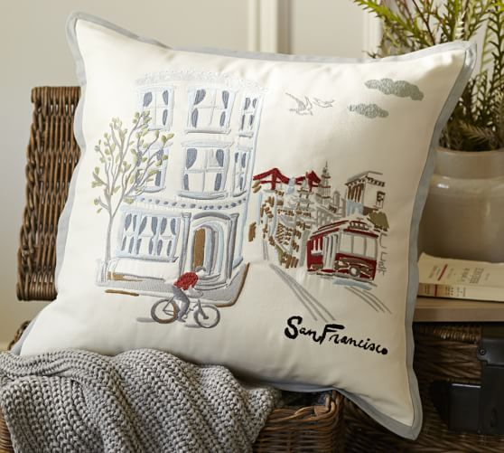 san francisco embroidered pillow cover pottery barn