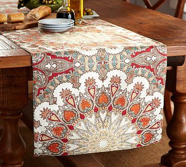 Valencia Paisley Table Runner Pottery Barn
