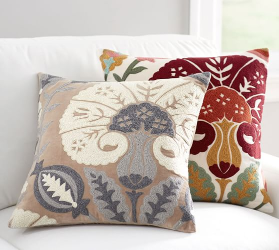 Eloise Crewel Embroidered Pillow Cover