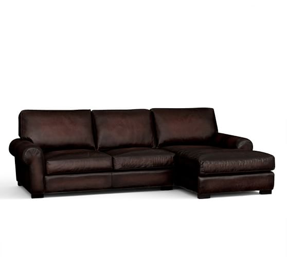 Turner roll arm leather sofa with chaise sectional for Chaise leather sofa