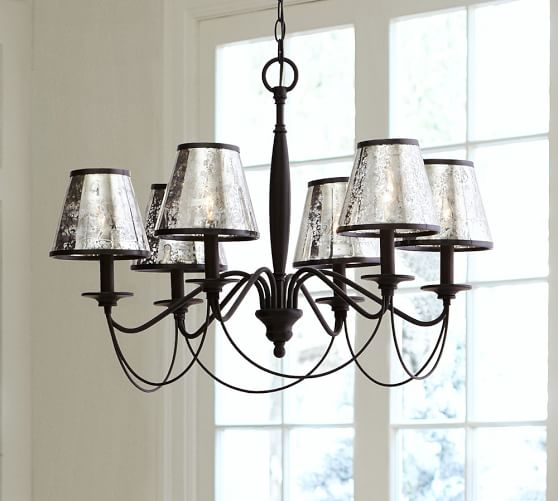 Pottery Barn Replacement Lamp Shades: Antique Mercury Glass Chandelier Shade, Set Of 3