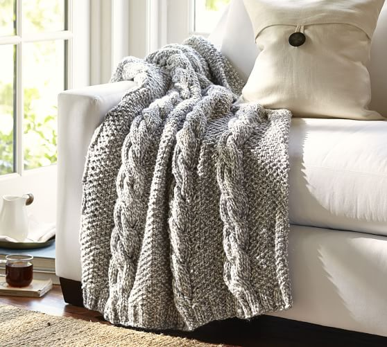 Knitting Pattern For Pottery Barn Throw : Bicolor Chunky Cable Handknit Throw Pottery Barn