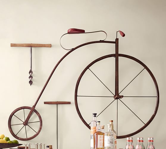 High wheel bicycle wall art pottery barn for Bicycle wheel wall art