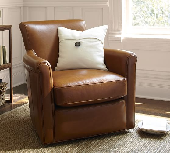 Irving leather swivel armchair pottery barn for Swivel club chair leather