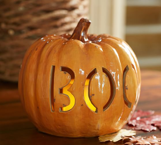 Boo Pumpkin Luminary Pottery Barn