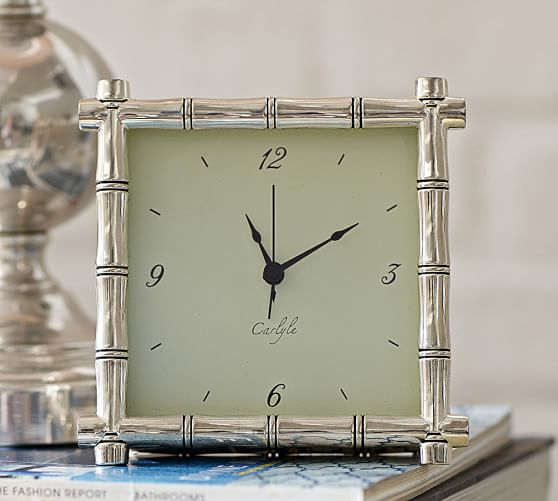 Silver Plated Bamboo Clock Pottery Barn