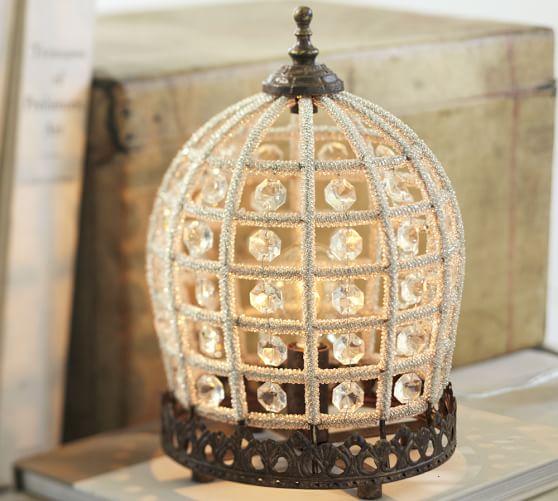 Pottery Barn Beaded Lamp Shade: Dalila Beaded Crystal Accent Lamp