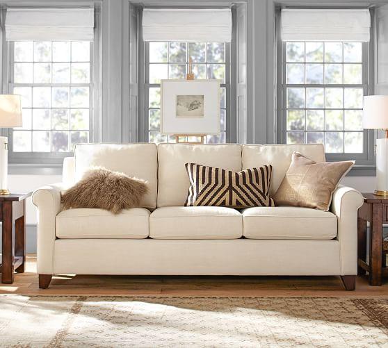 cameron roll arm upholstered sofa pottery barn