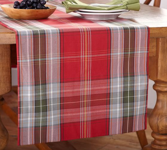 Newbury Plaid Table Runner Pottery Barn