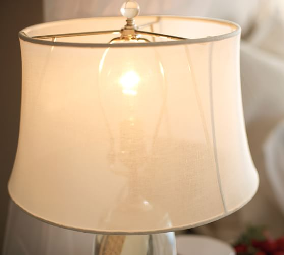 sheer linen tapered drum lamp shade pottery barn. Black Bedroom Furniture Sets. Home Design Ideas