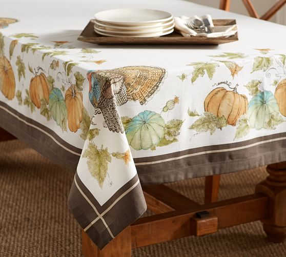 Heritage turkey tablecloth pottery barn for Pottery barn thanksgiving