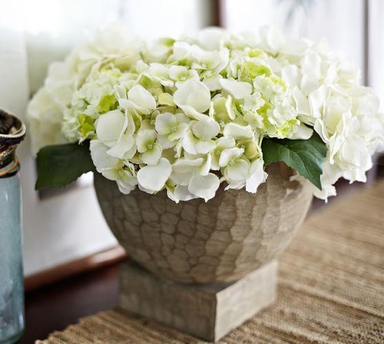 Faux Hydrangea Arrangement: Faux Hydrangea Arrangement In Hand Carved Wood Vase