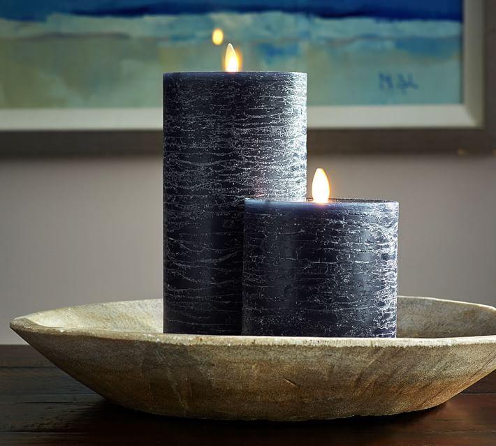 Premium Flicker Flameless Rustic Wax Pillar Candle - Navy ...