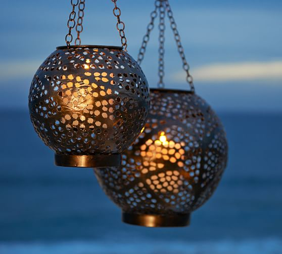Pottery Barn Carriage Lamp: Punched Metal Orb Lanterns