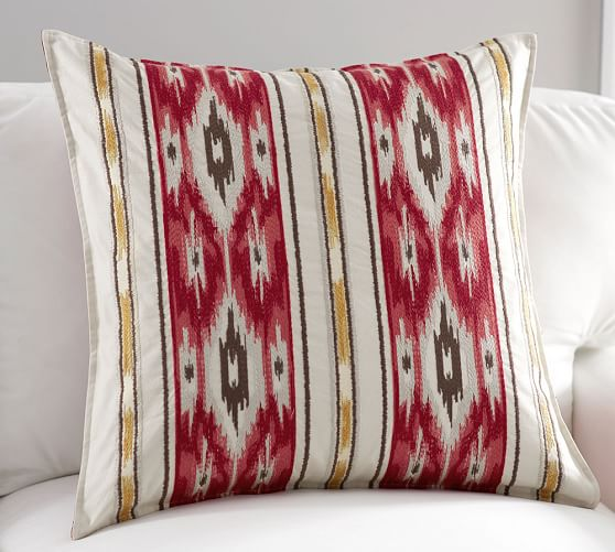 holiday ikat stripe pillow cover pottery barn. Black Bedroom Furniture Sets. Home Design Ideas