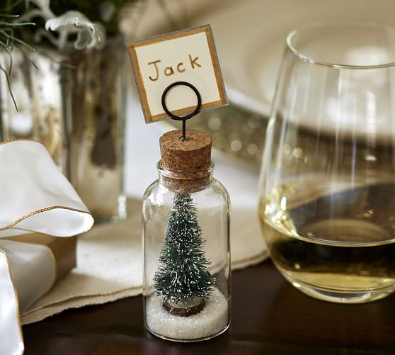 snowy tree cloche placecard holder set of 4 pottery barn. Black Bedroom Furniture Sets. Home Design Ideas