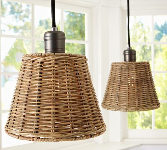Kitchen Pendant Lighting Pottery Barn: Wicker Shade Pendant Track Lighting