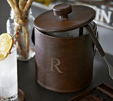 saddle leather lidded ice bucket tongs pottery barn. Black Bedroom Furniture Sets. Home Design Ideas