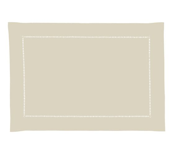 Hand-Woven Linen Hemstitch Rectangular Placemat, 14 x 20