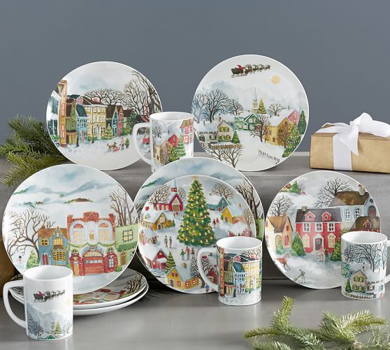 Winter Village 12 Piece Dinnerware Set Pottery Barn