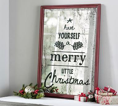 framed holiday mirror wall art pottery barn. Black Bedroom Furniture Sets. Home Design Ideas