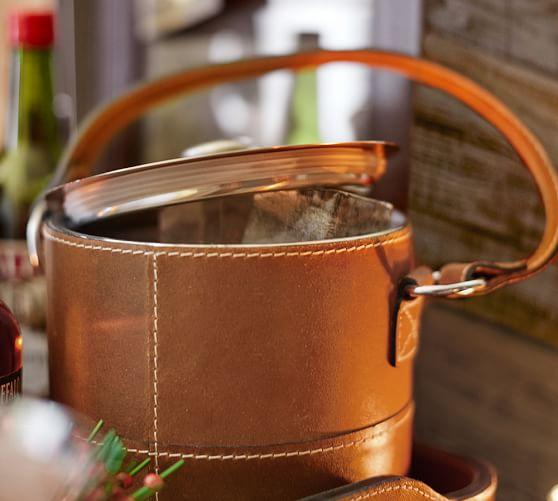 beckett leather ice bucket pottery barn. Black Bedroom Furniture Sets. Home Design Ideas