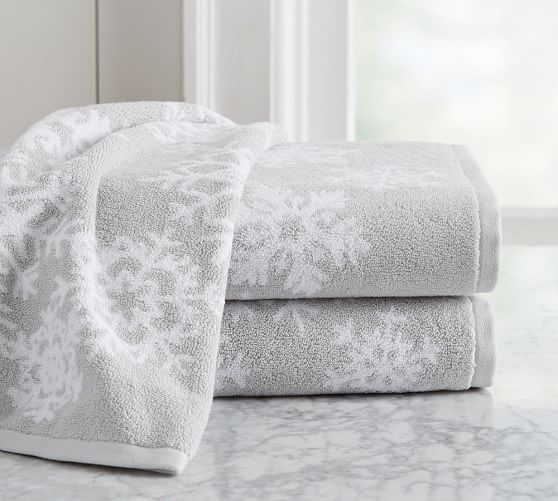 Snowflake Jacquard Bath Towels Pottery Barn