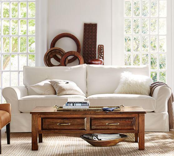 PB fort Eco Roll Arm Slipcovered Sofa
