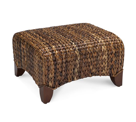 Pottery Barn Chairs And Ottomans: Seagrass Wingback Ottoman