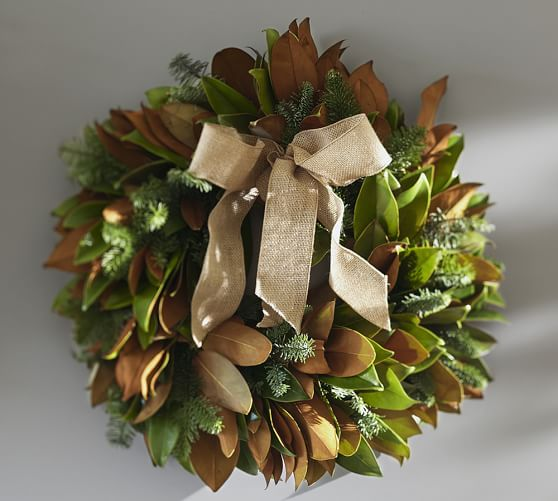 Live Magnolia Amp Noble Fir Wreath With Burlap Ribbon