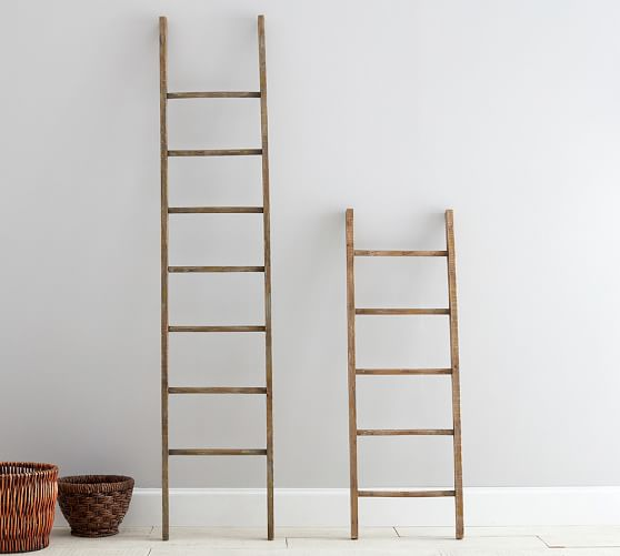 Pb found wood ladder pottery barn for Decor ladder
