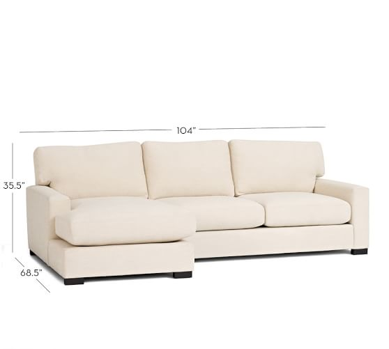 Turner square arm upholstered sofa with chaise sectional for Pottery barn turner sectional sofa