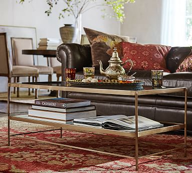 Designer Love Brass Coffee Table - Pottery barn leona coffee table
