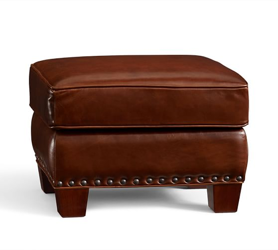 Irving leather storage ottoman with nailheads pottery barn for Storage ottoman singapore