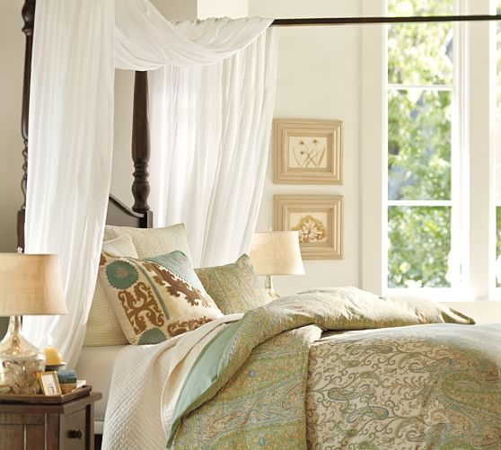 Sheer canopy drape pottery barn for Drape canopy over bed