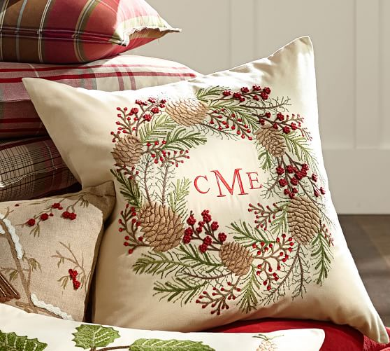 Beaded Pine Cone Embroidered Wreath Pillow Cover 24 Quot Sq