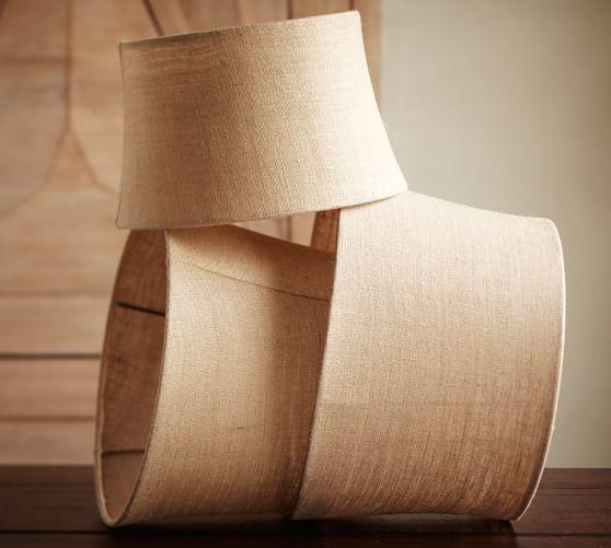Jute Ceiling Lamp Shade: Burlap Upholstered Tapered Drum Lamp Shade