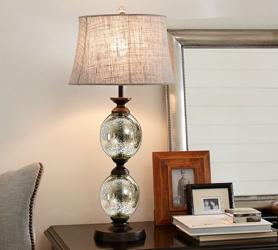 stacked mercury glass table lamp base pottery barn. Black Bedroom Furniture Sets. Home Design Ideas