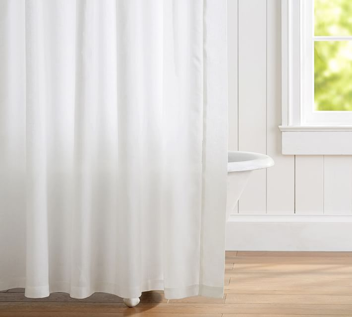 pottery barn belgian flax linen hemstitch shower curtain white new with tags ebay. Black Bedroom Furniture Sets. Home Design Ideas