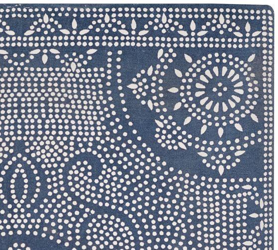 Shibori Dot Printed Indoor Outdoor Rug Blue Jay