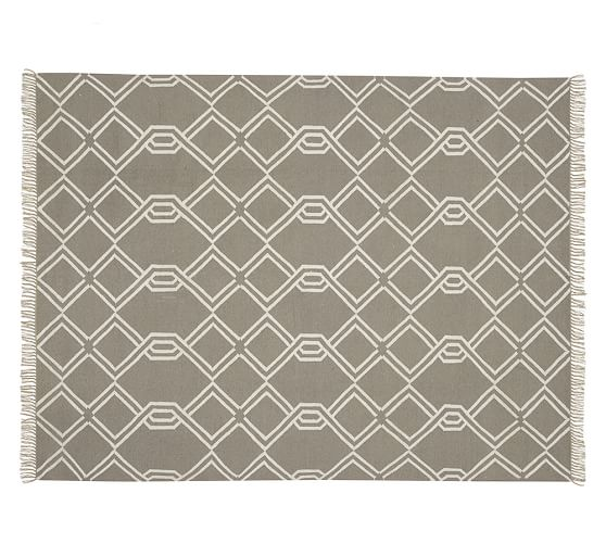 Diamond Cable Synthetic Indoor Outdoor Rug Gray
