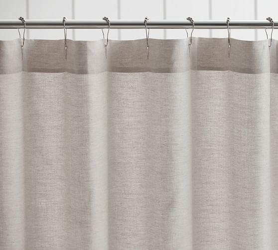 Belgian Flax Linen Hemstitch Shower Curtain Pottery Barn