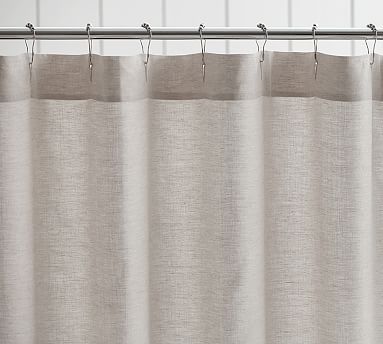 belgian flax linen hemstitch shower curtain pottery barn. Black Bedroom Furniture Sets. Home Design Ideas