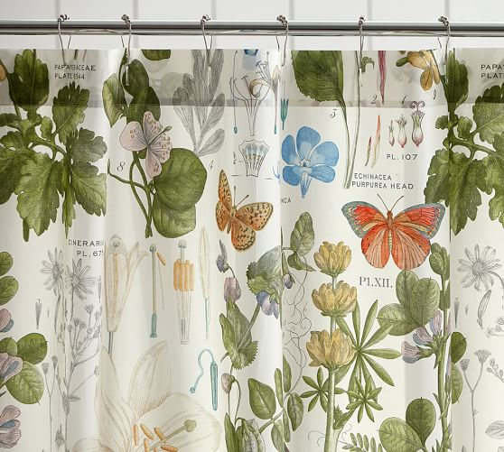 Poppy Botanical Print Shower Curtain