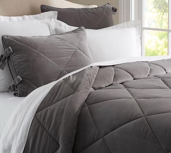 Velvet comforter sham pottery barn for Grey velvet comforter
