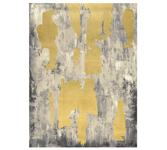 Grey with Gold Leaf Abstract Canvas, 42 x 54