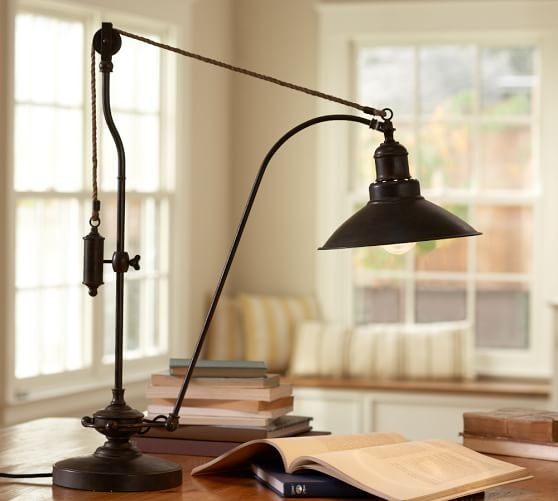 glendale pulley task table lamp pottery barn. Black Bedroom Furniture Sets. Home Design Ideas