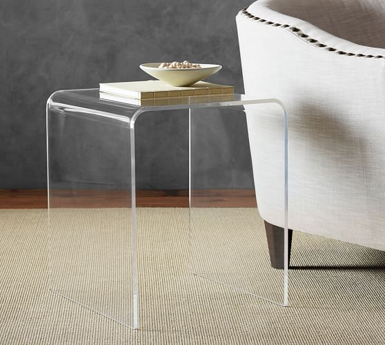 caleb acrylic accent side table pottery barn